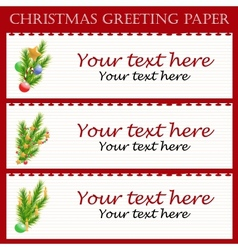 Three christmas greeting paper with text vector