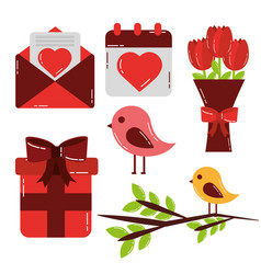 valentines day set icons cute love design vector image