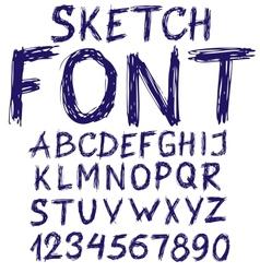 Handwritten blue sketch alphabet vector image vector image
