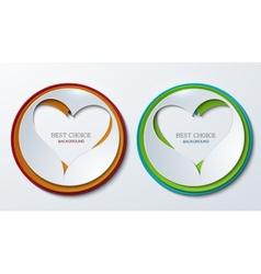 heart circle icons set vector image