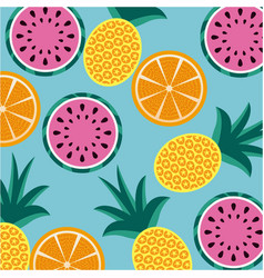 seamless pattern fruits pineapple orange and vector image