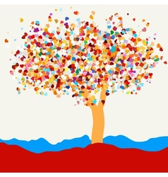 Tree with hearts for St Valentines Day EPS 8 vector image