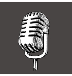 Vintage microphone hand drawn engraving vector image vector image