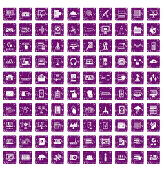 100 database and cloud icons set grunge purple vector image