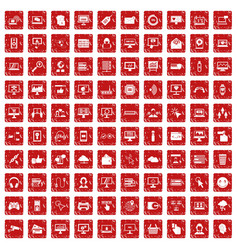 100 internet icons set grunge red vector image