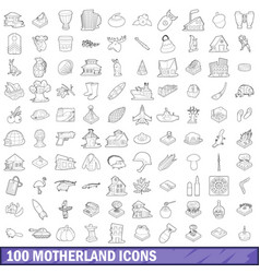100 motherland icons set outline style vector image