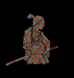 2 samurai composition cartoon vector
