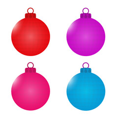 a set of balls with faces christmas decorations vector image