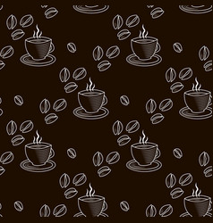 Abstract outline seamless pattern with cup of vector