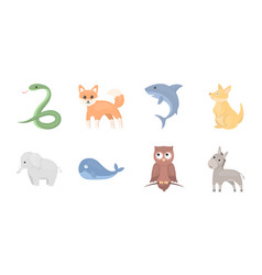 an unrealistic animal icons in set collection for vector image