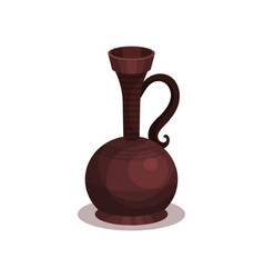 Ancient pottery with handle and narrow neck old vector