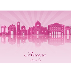 Ancona skyline in purple radiant orchid vector image