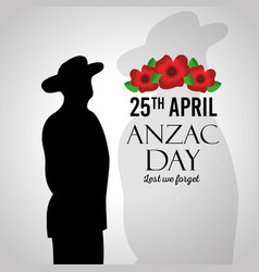 Anzac day lest we forget silhouette military vector