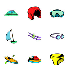 aqua icons set cartoon style vector image