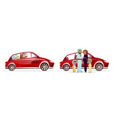 Arabian family in car vector