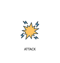 Attack concept 2 colored line icon simple yellow vector