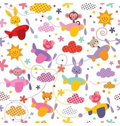 Baby animals in airplanes pattern vector