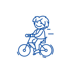 bicycle riding boy line icon concept bicycle vector image