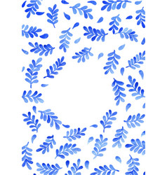 blue fern leaf watercolor with copy space vector image
