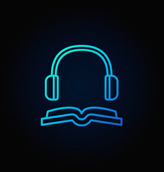 Book with headphones blue icon vector