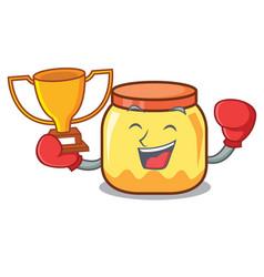 Boxing winner cream jar mascot cartoon vector