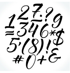 Brush lettering numbers and punctuation vector