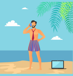 business vacations of man vector image