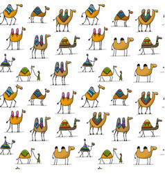 Camels caravan seamless pattern for your design vector