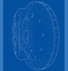 Car brake disc outline vector