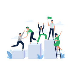 Career ladder with team people office worker hold vector