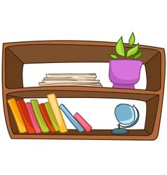 Cartoon home furniture book shelf vector