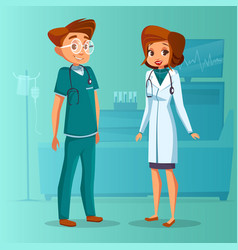 Cartoon man woman doctors set vector