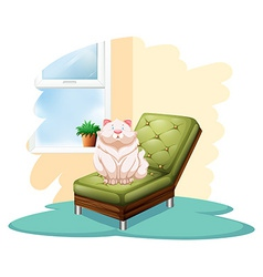Cat above chair vector