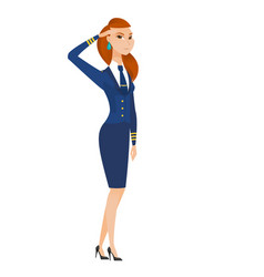 Caucasian young stewardess saluting vector