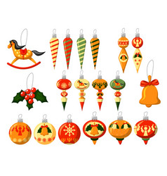 christmas toy isolated set on white background vector image