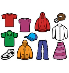 clothing symbol set with bold outlines vector image