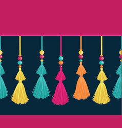 colorful trim decorative tassels beads vector image