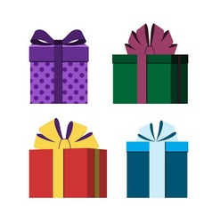 Colorful wrapped gift boxes icon vector
