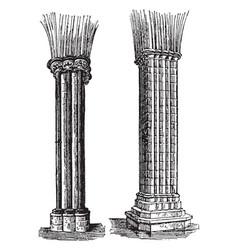 Columns engineering vintage engraving vector