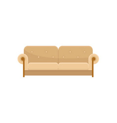 Comfortable sofa modern beige couch living room vector