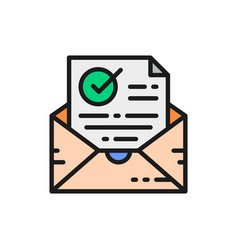Confirmation letter checked envelope with check vector