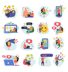 customer relationship icons collection vector image