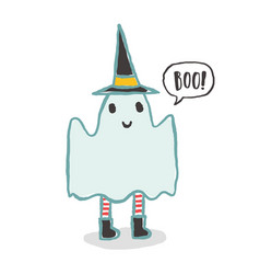 Cute and funny ghost halloween character vector