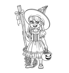 cute girl in witch costume holding a pumpkin bag vector image