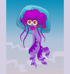 Cute happy smiling female jellyfish character vector