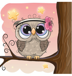 Cute owl with flower on a brunch vector