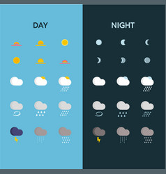 Day and night weather icons vector