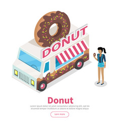 donut conceptual isometric web banner vector image
