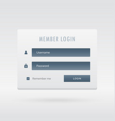 Elegant member login form in light user interface vector