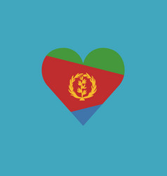 eritrea flag icon in a heart shape in flat design vector image